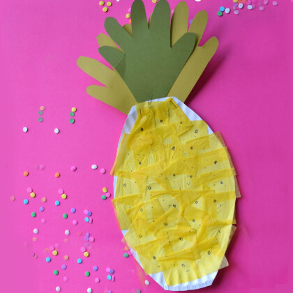 Pineapple making using yellow tissue paper Yellow Crafts for Toddlers