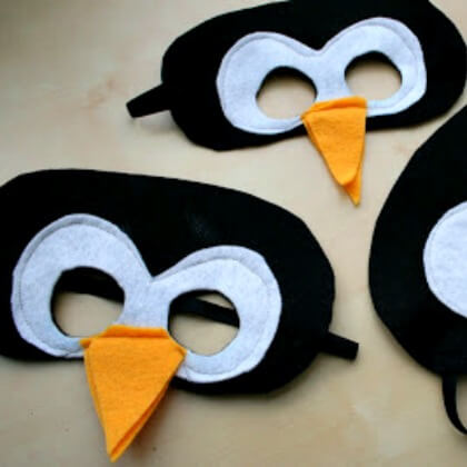 Felt cloth Penguin eye masks Penguin Craft Ideas for Kids