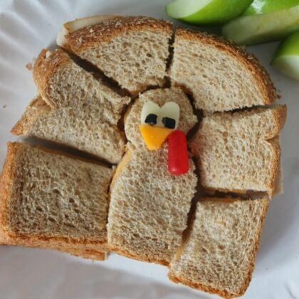 Turkey toasts for fall DIY Fall Snacks for Kids