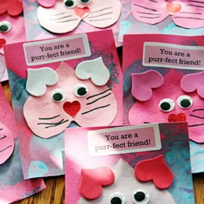 Purr-fect Kitty Valentine's Day Crafts for your kids' friends
