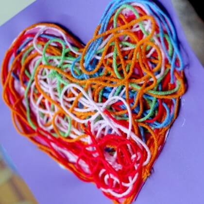 Textured Yarn Heart Craft for Decoration - Heart Crafts for Kids - Preschool Valentine's Day Crafts