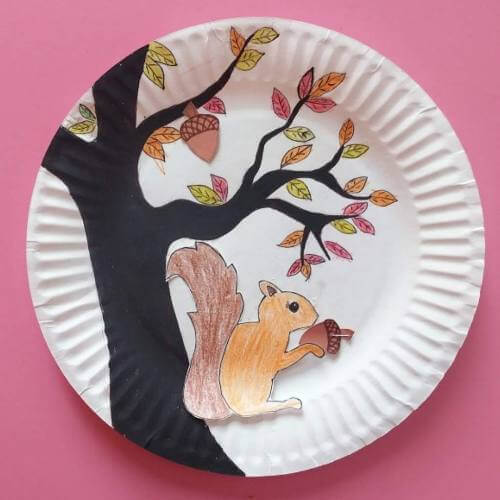 Making A Squirrel Craft In A Paper Plate