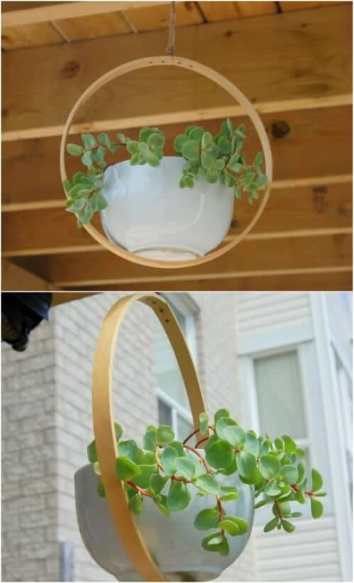 Embroidery Hoop Planter Hanging Planter Ideas for Indoor Home Decoration