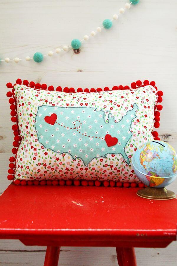 DIY USA Map Heart Pillow