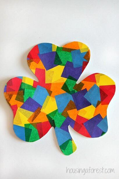 Colorful and bright shamrock - St. Patrick's Day Crafts for prechool kids