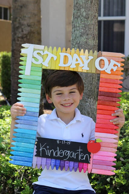 Square Frame Chalk Blocks First Day of School Photo Ideas for Children