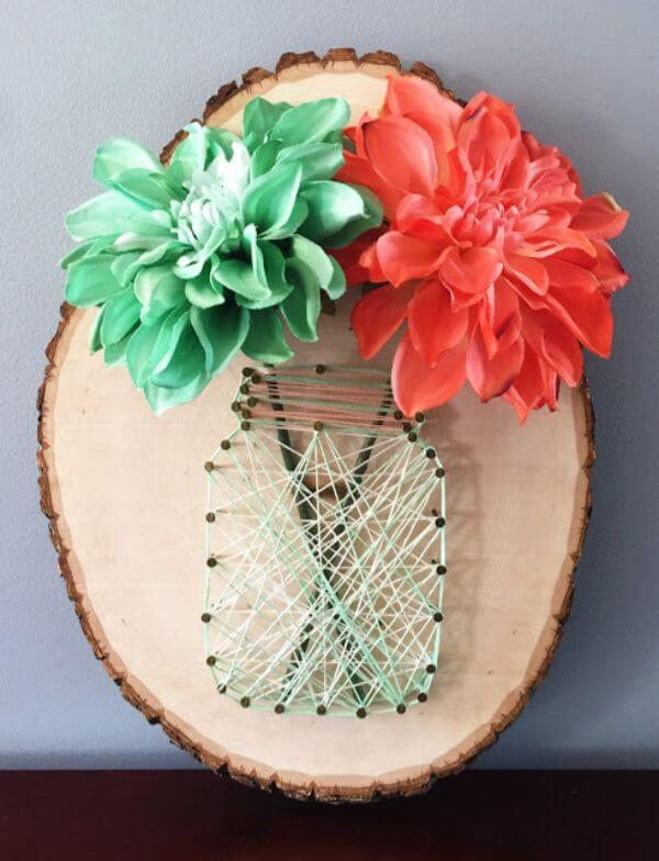 Mason Jar String Art DIY String Art Ideas for Home Decoration