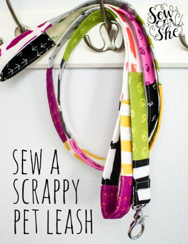 DIY Scrappy Pet Leash Upcycle Fabric Scraps