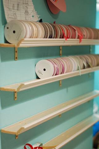 Wall ribbon holders Ribbon Storage Ideas