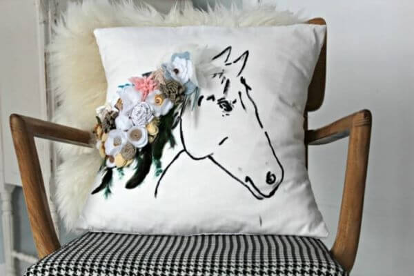 Well Horse Printed Pillow With Flowers for home decor
