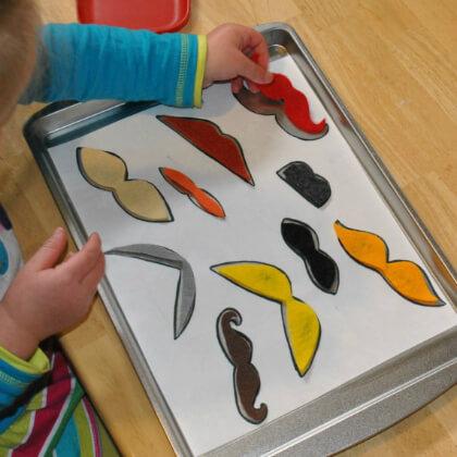 Make Mustache Puzzle Activity For Kids