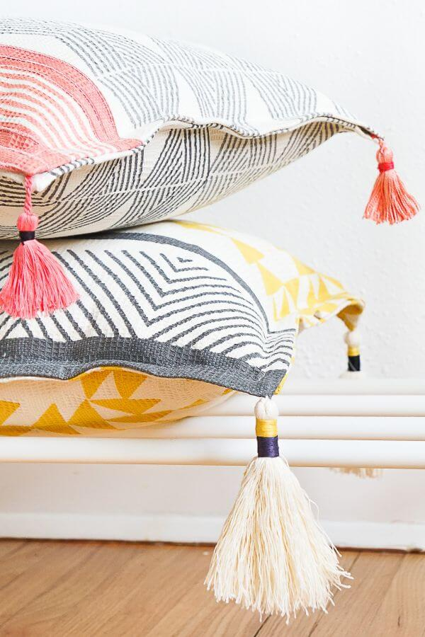 DIY Tasseled Throw Pillow Idea