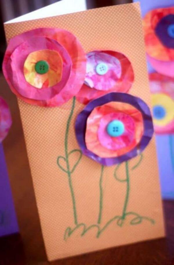 Spring themed Card Idea - Flower Art Projects for Kids