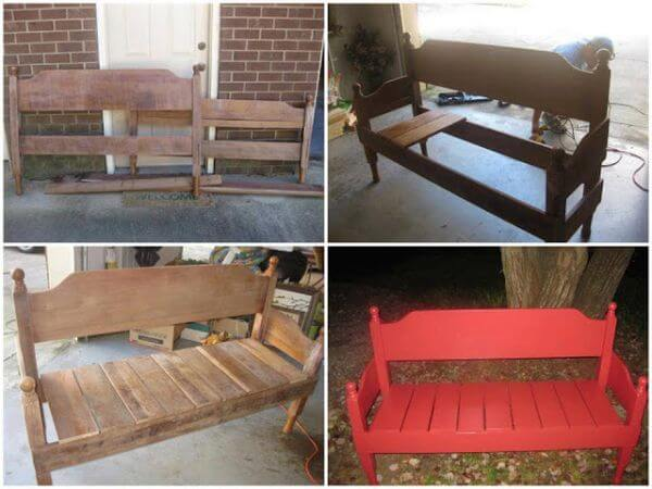 DIY Bench Using Old Headboards
