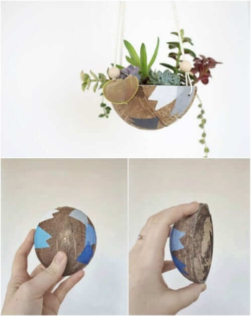 Upcycled Coconut Shell Hanging Planter