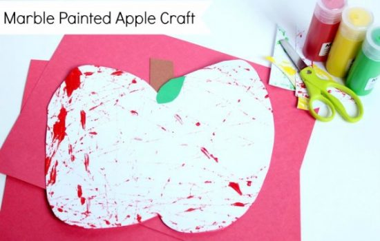 Simple Marble Painted Apple Activity for Preschoolers