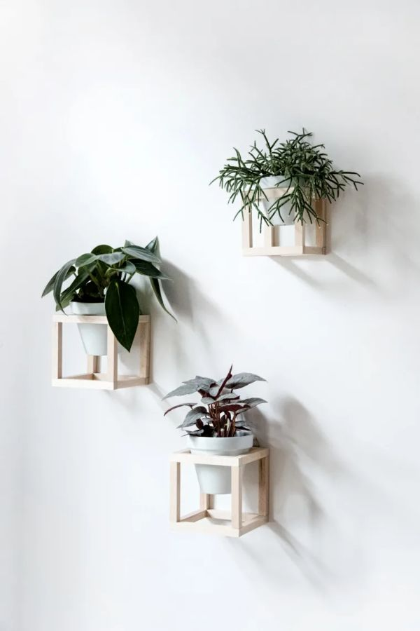 Hanging Wooden Basket in Square Shape