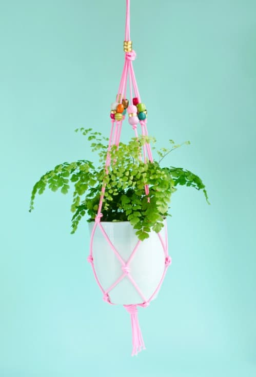 Beautiful Hanging Planter with Pink Strings Hanging Planter Ideas for Indoor Home Decoration