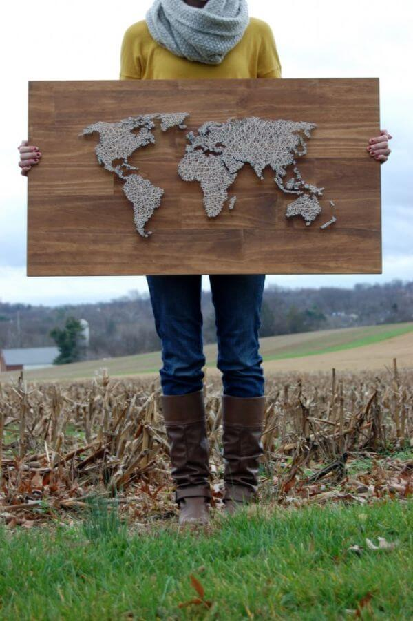 World Map String Art DIY String Art Ideas for Home Decoration