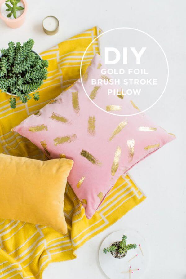 DIY Gold Foil Brush Stroke Pillow for Home