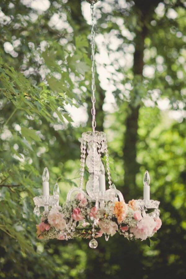 Chandeliers With Flowers - Unique Floral Wedding Decor Ideas for Outdoor