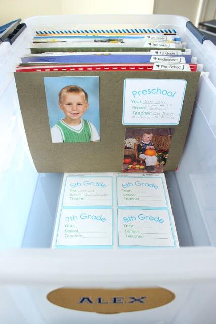 Organize Kid's School Papers Family Memory Keepsake Ideas