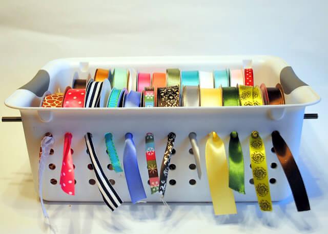 Basket full of ribbons Ribbon Storage Ideas