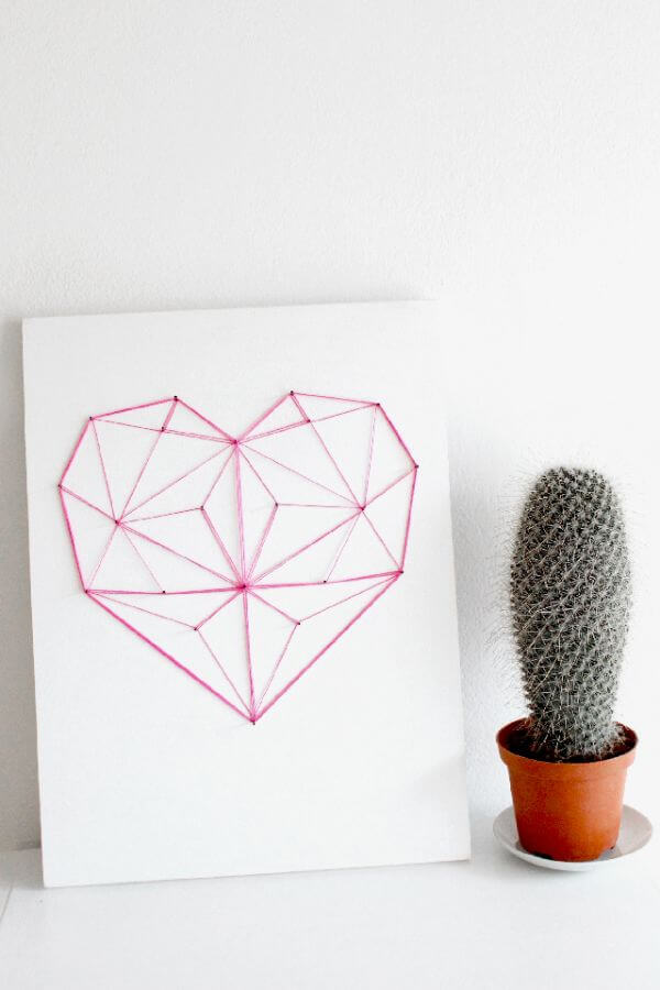 Geometric Heart String Art DIY String Art Ideas for Home Decoration