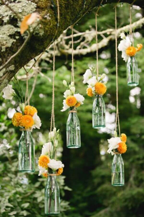 Bottles Of Flower - Unique Floral Wedding Decor Ideas for Outdoor