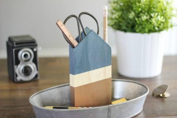 DIY Metallic And Wood Pencil Holder :