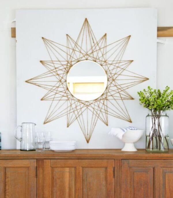 Sunburst Mirror String Art DIY String Art Ideas for Home Decoration