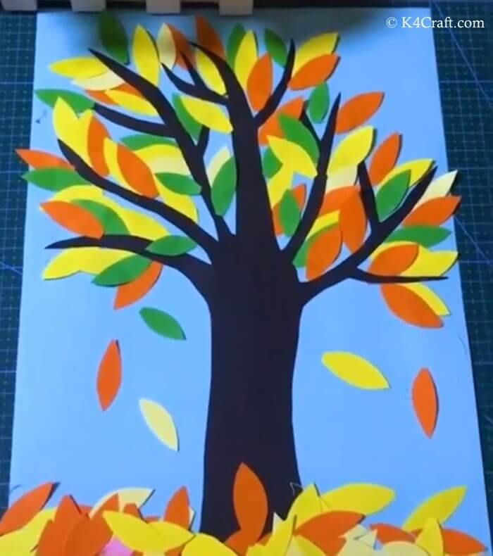 Colorful Tree And Falling Leaves