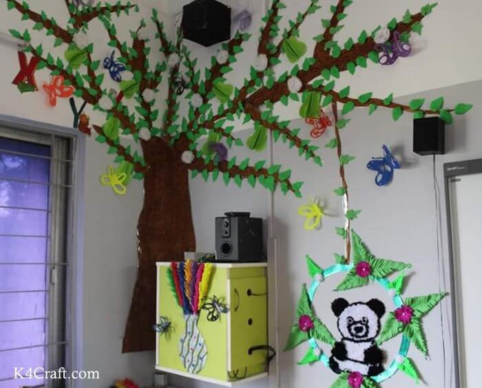 Green day crafts for kids, toddlers, preschool - Alluring Cotton Panda And Tall Tree