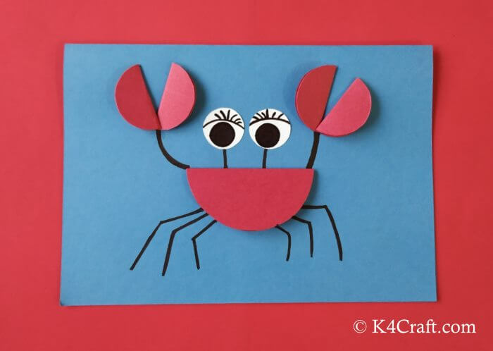 Simple Red Paper Crab Red Day Crafts & Activities for Preschool Kids