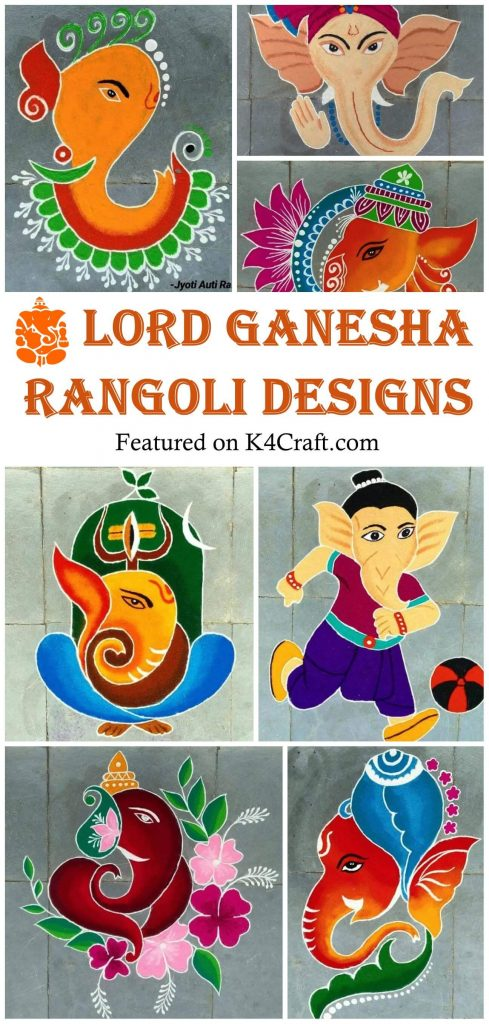 Beautiful Lord Ganesha Rangoli Designs for your home Lord Ganesha rangoli designs