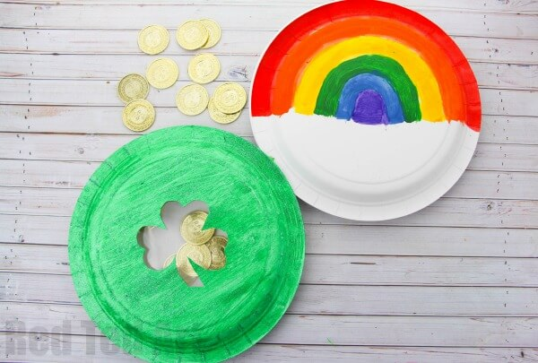 Beautiful rainbow crafts in a paper plate - St. Patrick's Day Crafts
