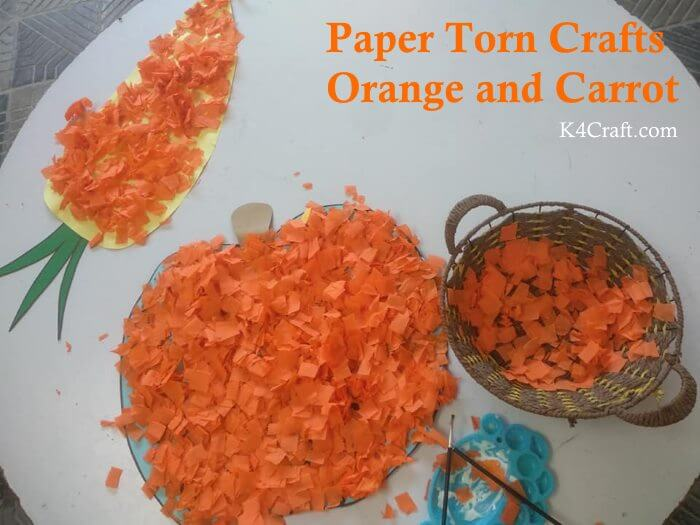 Paper Torn Orange And Carrot Craft