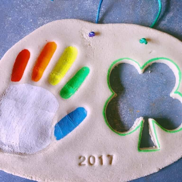 Making beautiful crafts for St. Patrick's Day in dough
