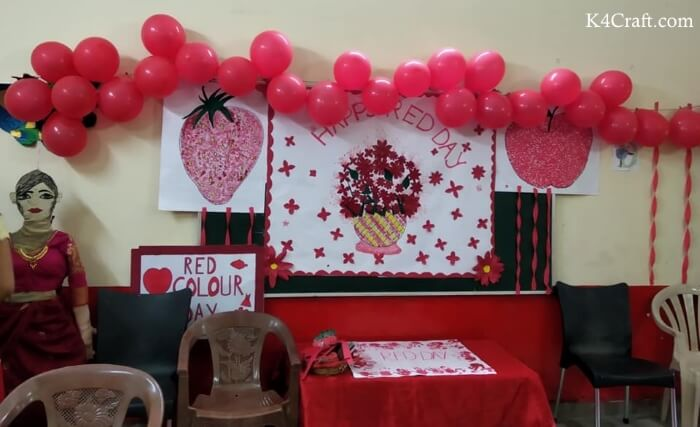 Red Colour Day Class Room Craft
