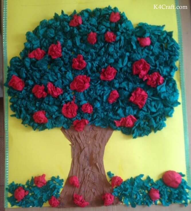 Green day crafts for kids, toddlers, preschool - Tissue Tree And Red Rose Activity For Kids