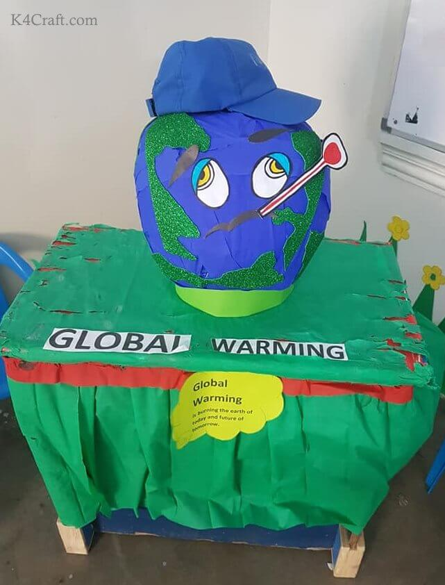 Green day crafts for kids, toddlers, preschool - Cute Ill Earth Wearing Blue Hat