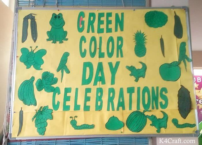 Green day crafts for kids, toddlers, preschool - Make Simple Green Color Day Board For Kids