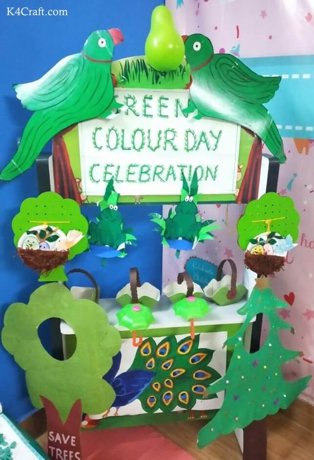 Green day crafts for kids, toddlers, preschool - Green Color Day Celebration And Save Tree