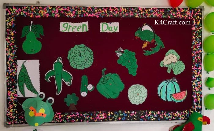 Green day crafts for kids, toddlers, preschool - Cool Green Day And Dark Red Board For Kids