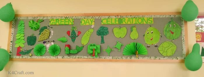 Green day crafts for kids, toddlers, preschool - Crafty Green Veg And Fruit With Funny Face