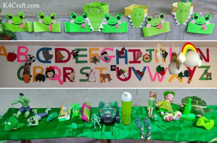 Green day crafts for kids, toddlers, preschool - Alphabet, Paper Frog And Green Toys Activity