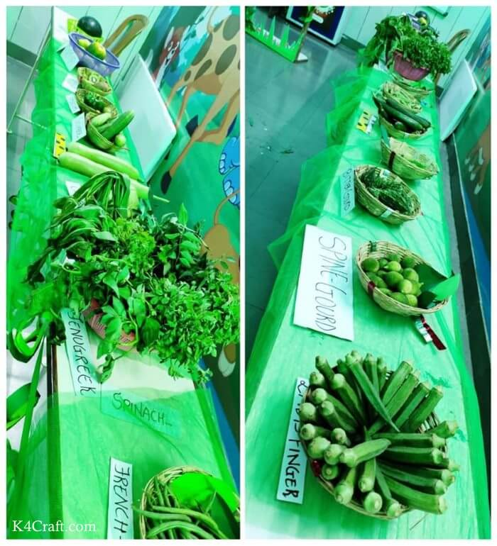 Green day crafts for kids, toddlers, preschool - Simple And Sublime Green Veg Basket In Table