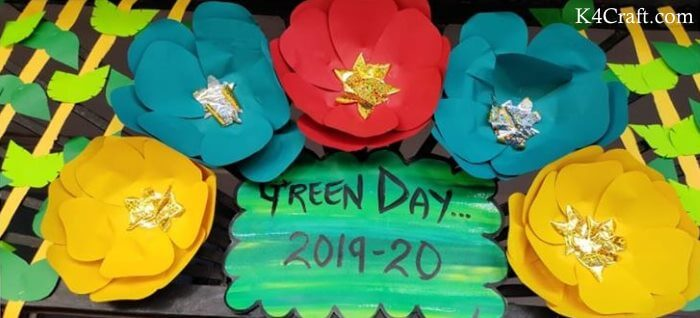 Green day crafts for kids, toddlers, preschool - DIY Voguish Paper Flower Idea