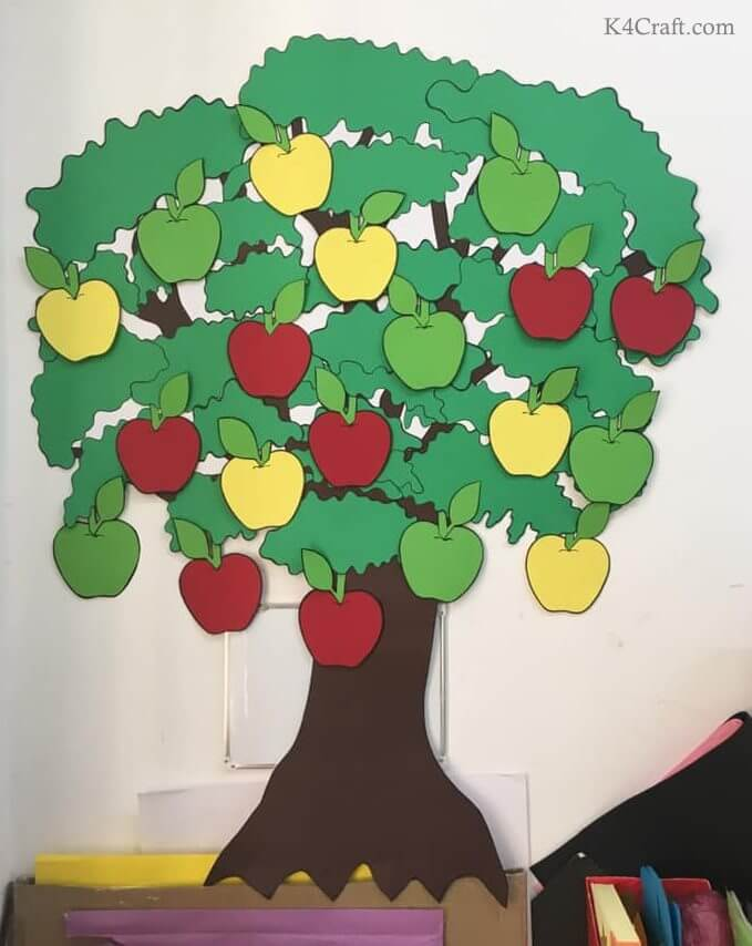 Green day crafts for kids, toddlers, preschool - Red, Yellow And Green Apple Tree For Preschool