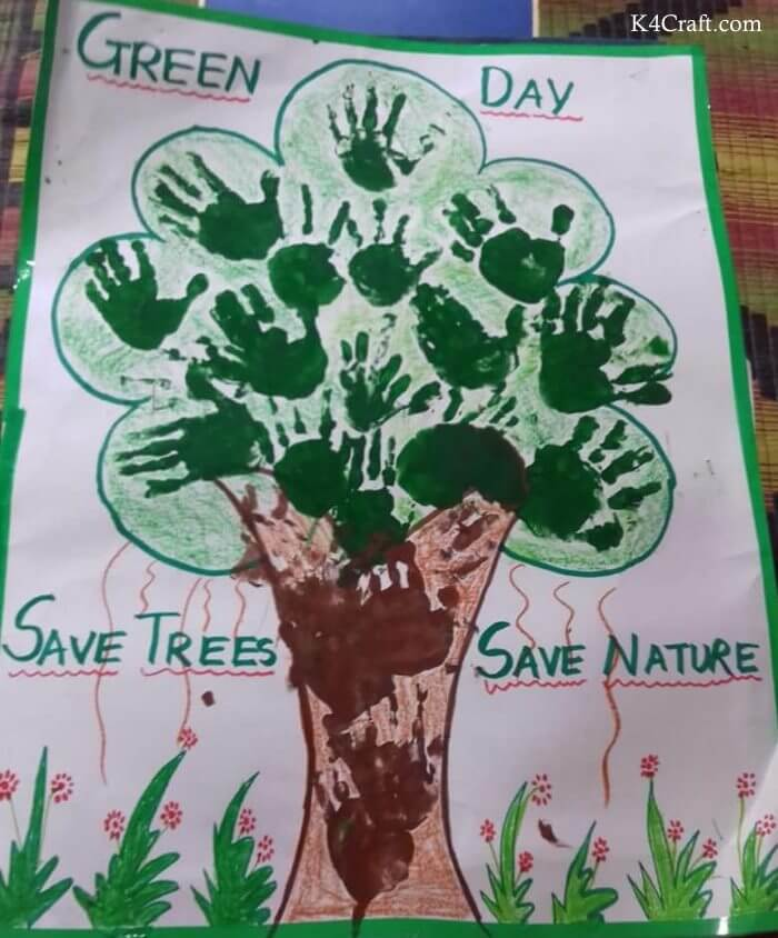 Green day crafts for kids, toddlers, preschool - Save Tree Save Nature Hand Print Tree